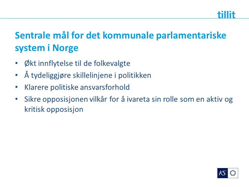Sentrale mål for det kommunale parlamentariske system i Norge Økt innflytelse til de folkevalgte Å tydeliggjøre skillelinjene i politikken Klarere politiske ansvarsforhold Sikre opposisjonen vilkår for å ivareta sin rolle som en aktiv og kritisk opposisjon