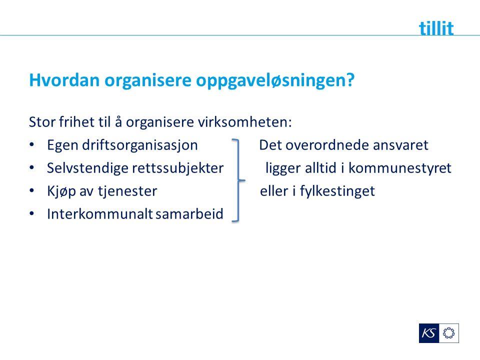 Hvordan organisere oppgaveløsningen? Stor frihet til å organisere virksomheten: Egen driftsorganisasjon Det overordnede ansvaret Selvstendige rettssub