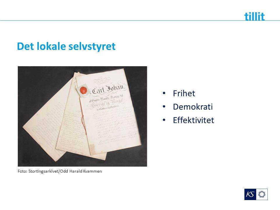 Det lokale selvstyret Frihet Demokrati Effektivitet Foto: Stortingsarkivet/Odd Harald Kvammen