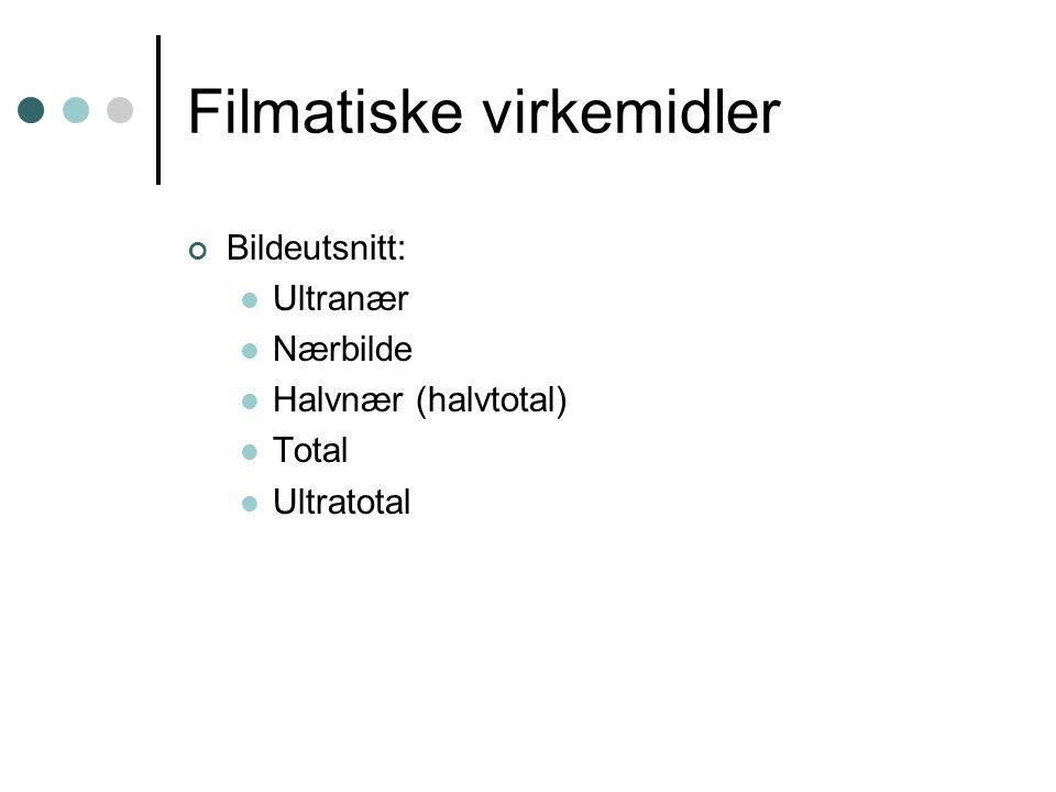 Filmatiske virkemidler Bildeutsnitt: Ultranær Nærbilde Halvnær (halvtotal) Total Ultratotal