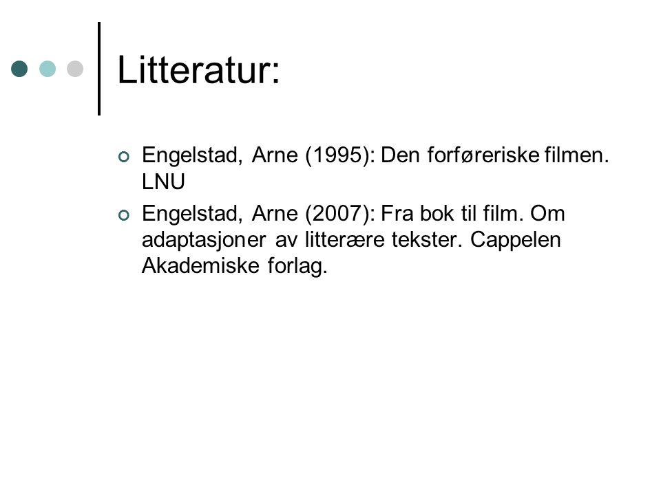 Litteratur: Engelstad, Arne (1995): Den forføreriske filmen.