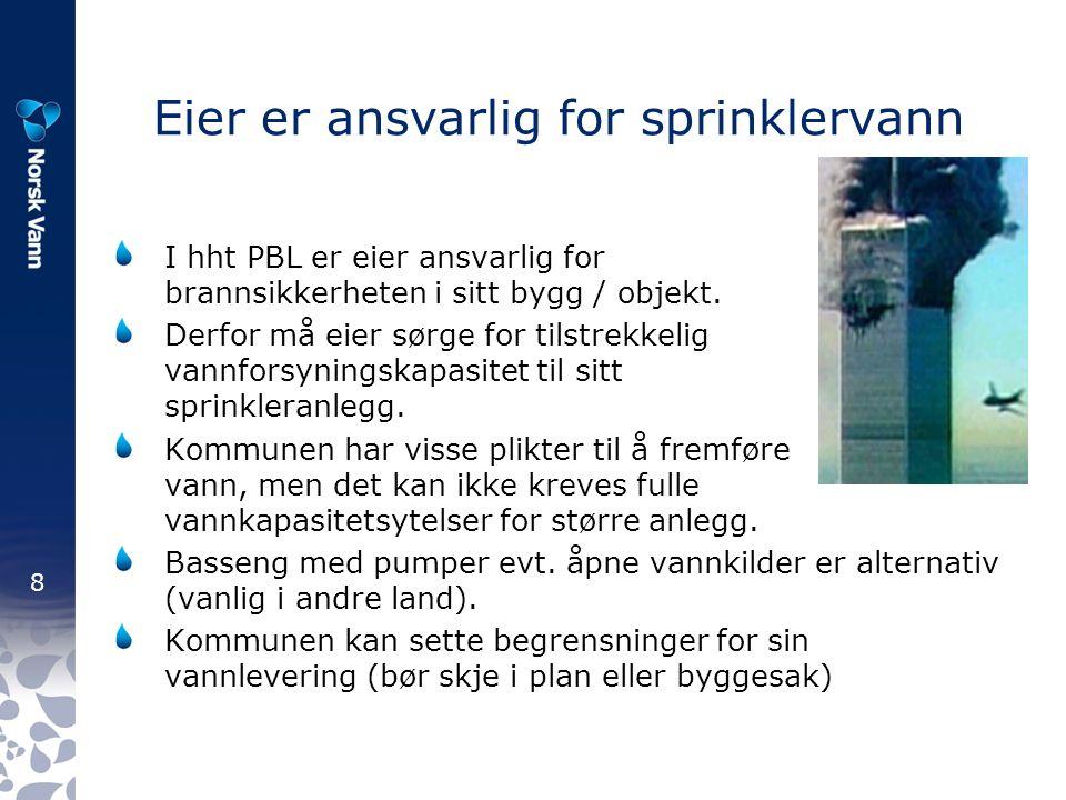 8 Eier er ansvarlig for sprinklervann I hht PBL er eier ansvarlig for brannsikkerheten i sitt bygg / objekt.