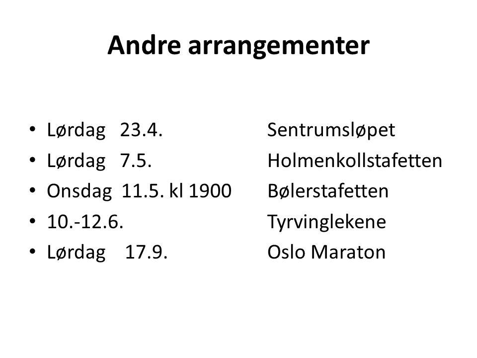 Andre arrangementer Lørdag 23.4.Sentrumsløpet Lørdag 7.5.Holmenkollstafetten Onsdag 11.5. kl 1900Bølerstafetten 10.-12.6.Tyrvinglekene Lørdag 17.9.Osl