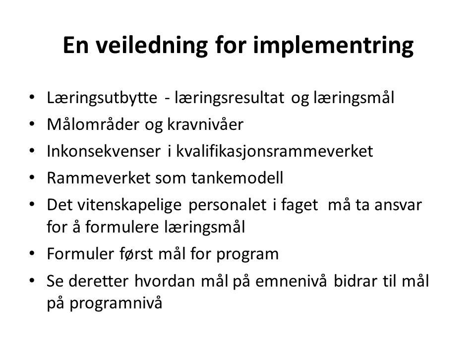 En veiledning for implementring Læringsutbytte - læringsresultat og læringsmål Målområder og kravnivåer Inkonsekvenser i kvalifikasjonsrammeverket Rammeverket som tankemodell Det vitenskapelige personalet i faget må ta ansvar for å formulere læringsmål Formuler først mål for program Se deretter hvordan mål på emnenivå bidrar til mål på programnivå