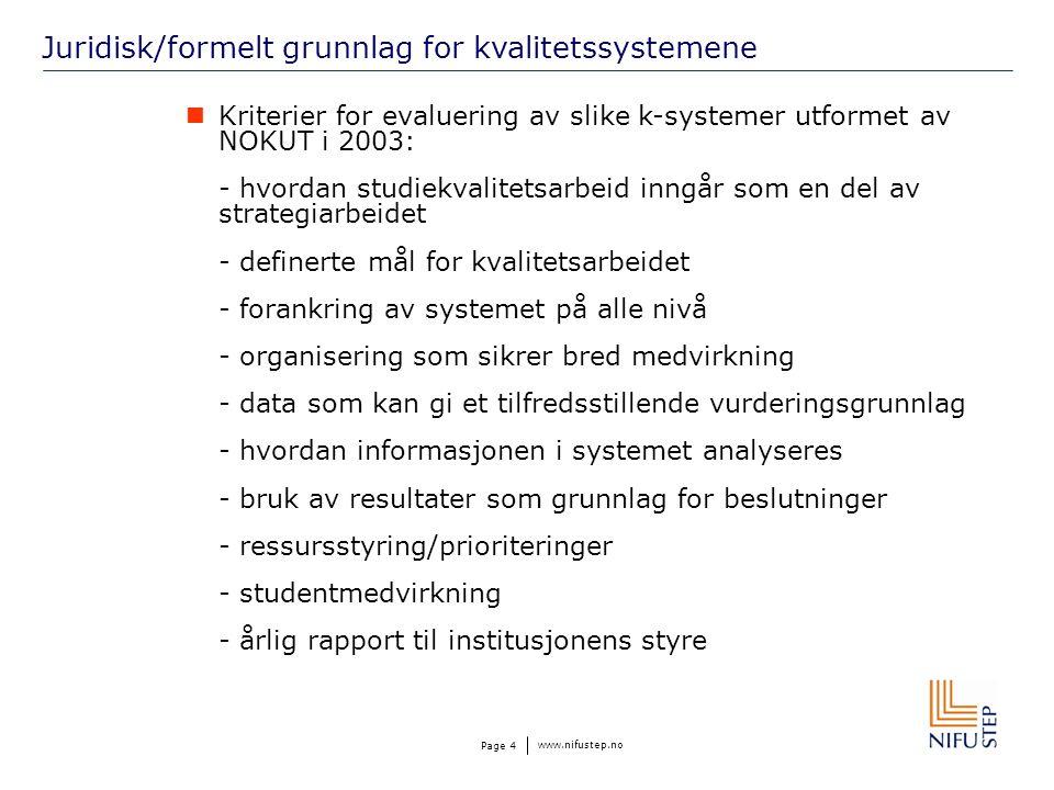 www.nifustep.no Page 4 Juridisk/formelt grunnlag for kvalitetssystemene Kriterier for evaluering av slike k-systemer utformet av NOKUT i 2003: - hvordan studiekvalitetsarbeid inngår som en del av strategiarbeidet - definerte mål for kvalitetsarbeidet - forankring av systemet på alle nivå - organisering som sikrer bred medvirkning - data som kan gi et tilfredsstillende vurderingsgrunnlag - hvordan informasjonen i systemet analyseres - bruk av resultater som grunnlag for beslutninger - ressursstyring/prioriteringer - studentmedvirkning - årlig rapport til institusjonens styre