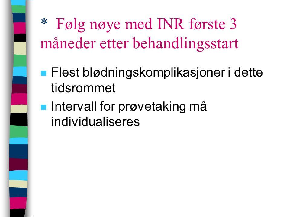 * Følg nøye med INR første 3 måneder etter behandlingsstart n Flest blødningskomplikasjoner i dette tidsrommet n Intervall for prøvetaking må individu