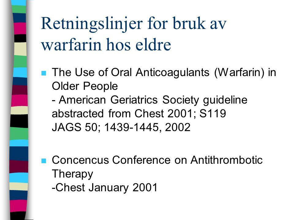 n Warfarin bør ikke kombineres med –Vitamin K –NSAID –Acetylsalicylsyre –Fluvoksamin (Fevarin) n Kan kombineres, forutsatt at det tas forhåndsregler –59 andre Felleskatalogens interaksjonsliste 2002