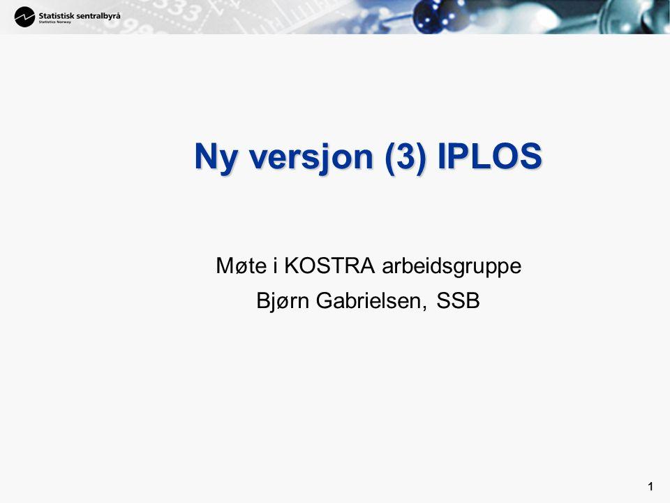 2 Innføring av ny versjon av IPLOS Det siste året har det vært jobbet med å få på plass en ny versjon (spesifikasjon) for IPLOS Dette har sammenheng bla.a med innvendinger fra brukerorganisasjonene på eksisterende utgave av IPLOS Samtidig er anledningen benyttet til å gjøre andre justeringer som det etter hvert har vist seg å være behov for –Lagt inn andre justeringer for å imøtekomme behov for statistikk –Tatt ut opplysninger det ikke (lenger) er behov for –Krypteringsmodulen er endret for å gjøre innsending fra store kommuner enklere