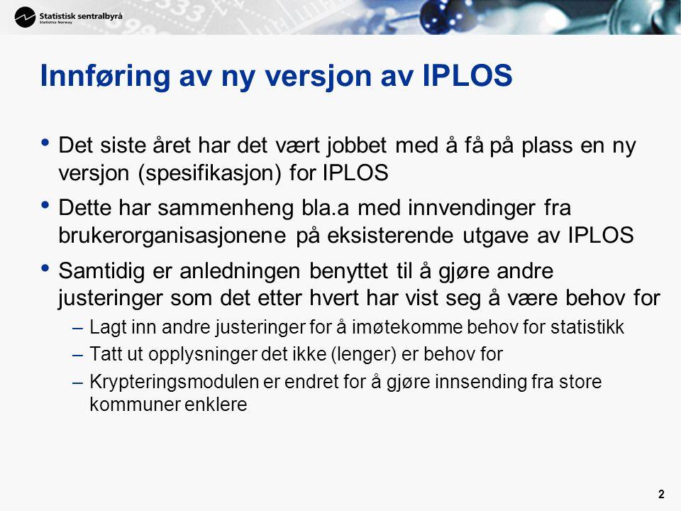 3 Testinnsending av data - IPLOS versjon 3 I september ble det gjennomført testinnsending fra alle fagsystemene –Min.