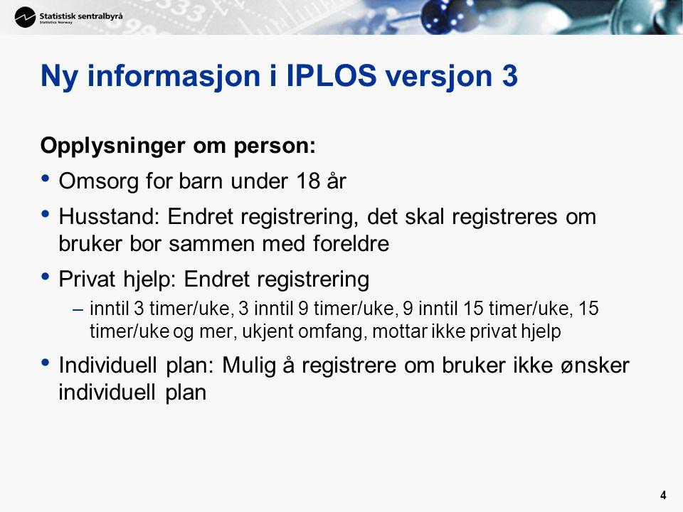 4 Ny informasjon i IPLOS versjon 3 Opplysninger om person: Omsorg for barn under 18 år Husstand: Endret registrering, det skal registreres om bruker bor sammen med foreldre Privat hjelp: Endret registrering –inntil 3 timer/uke, 3 inntil 9 timer/uke, 9 inntil 15 timer/uke, 15 timer/uke og mer, ukjent omfang, mottar ikke privat hjelp Individuell plan: Mulig å registrere om bruker ikke ønsker individuell plan