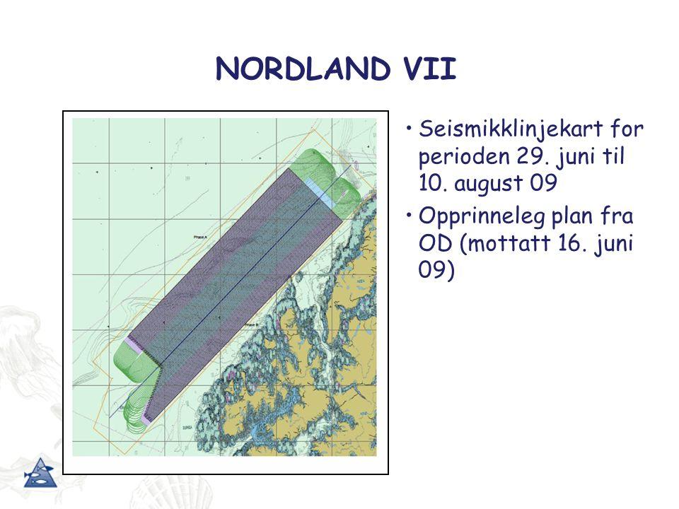 NORDLAND VII Seismikklinjekart for perioden 29.juni til 10.