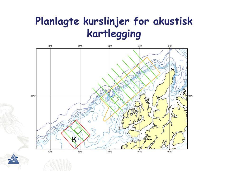 Planlagte kurslinjer for akustisk kartlegging K