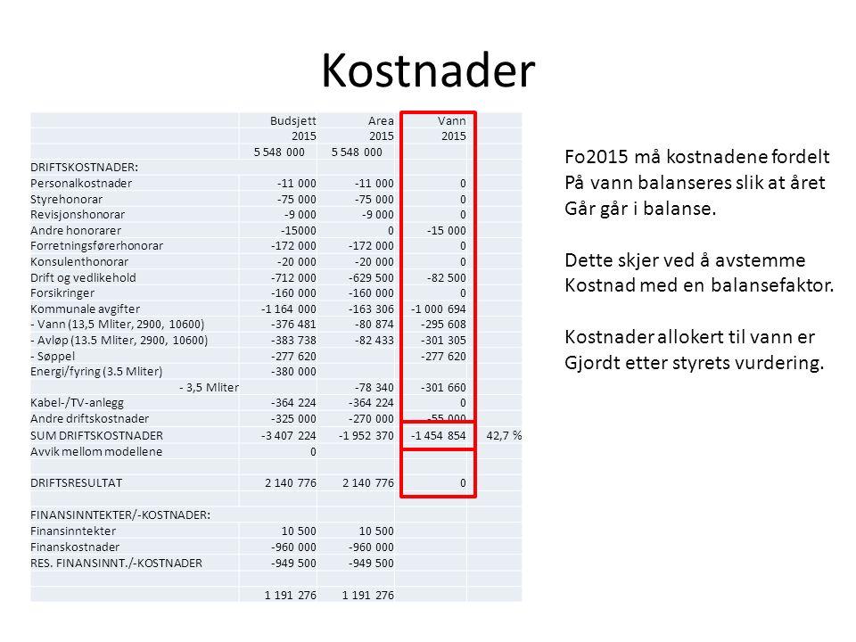 Kostnader BudsjettAreaVann 2015 5 548 000 DRIFTSKOSTNADER: Personalkostnader-11 000 0 Styrehonorar-75 000 0 Revisjonshonorar-9 000 0 Andre honorarer-1