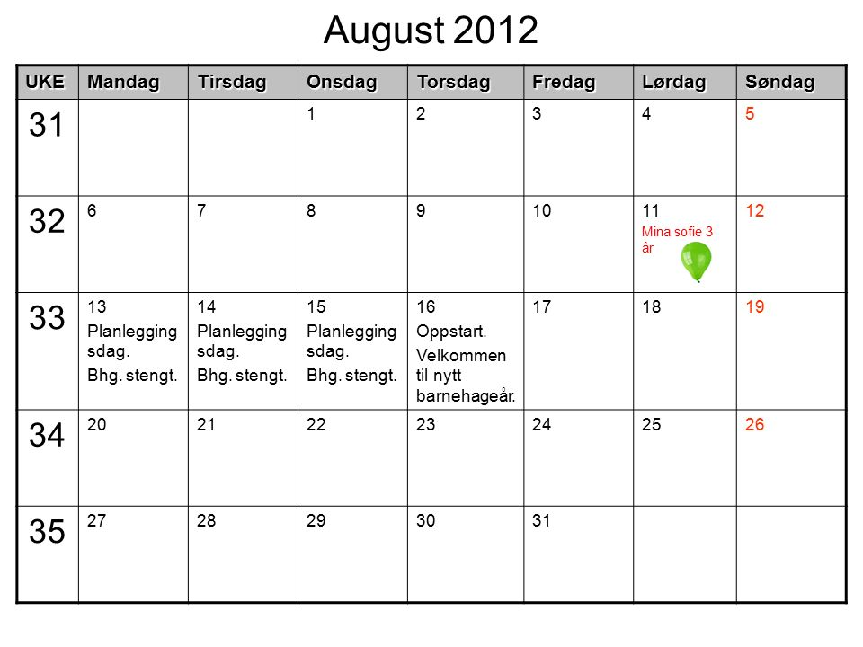 August 2012UKEMandagTirsdagOnsdagTorsdagFredagLørdagSøndag 31 12345 32 67891011 Mina sofie 3 år 12 33 13 Planlegging sdag. Bhg. stengt. 14 Planlegging