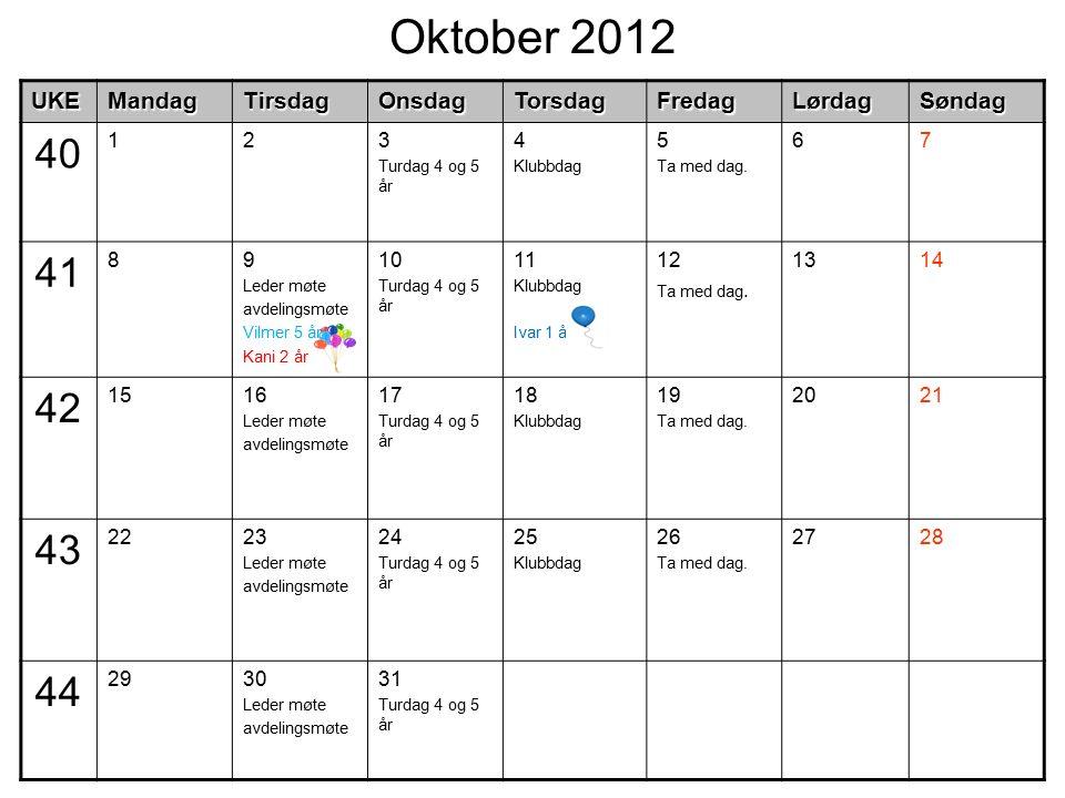 Oktober 2012UKEMandagTirsdagOnsdagTorsdagFredagLørdagSøndag 40 123 Turdag 4 og 5 år 4 Klubbdag 5 Ta med dag. 67 41 89 Leder møte avdelingsmøte Vilmer