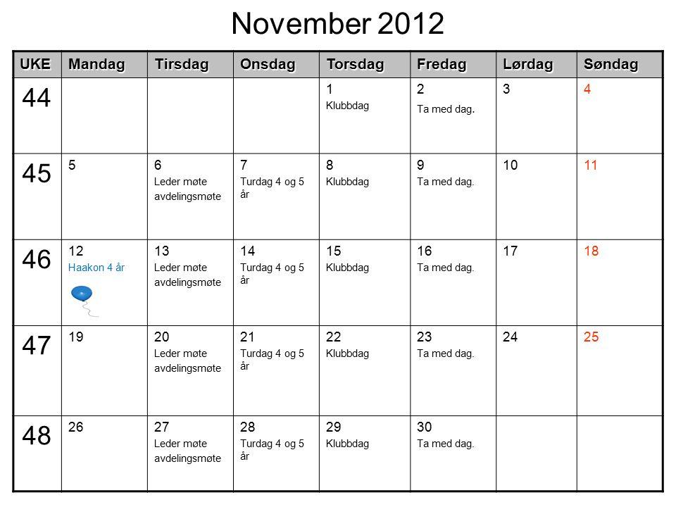 November 2012UKEMandagTirsdagOnsdagTorsdagFredagLørdagSøndag 44 1 Klubbdag 2 Ta med dag. 34 45 56 Leder møte avdelingsmøte 7 Turdag 4 og 5 år 8 Klubbd