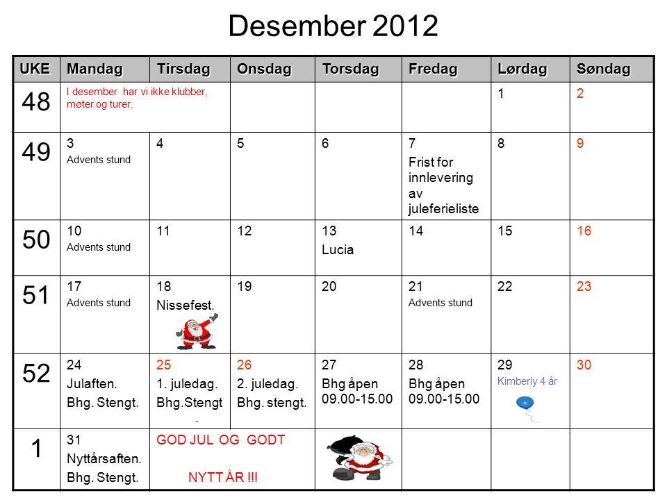 Desember 2012UKEMandagTirsdagOnsdagTorsdagFredagLørdagSøndag 48 I desember har vi ikke klubber, møter og turer. 12 49 3 Advents stund 4567 Frist for i