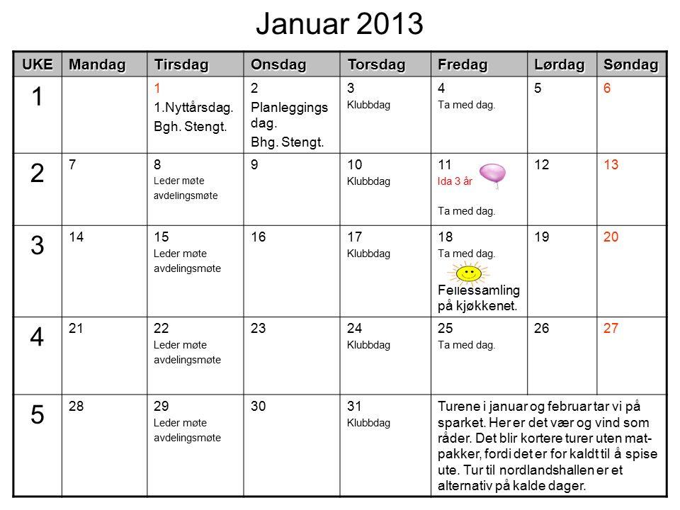 Januar 2013UKEMandagTirsdagOnsdagTorsdagFredagLørdagSøndag 1 1 1.Nyttårsdag.