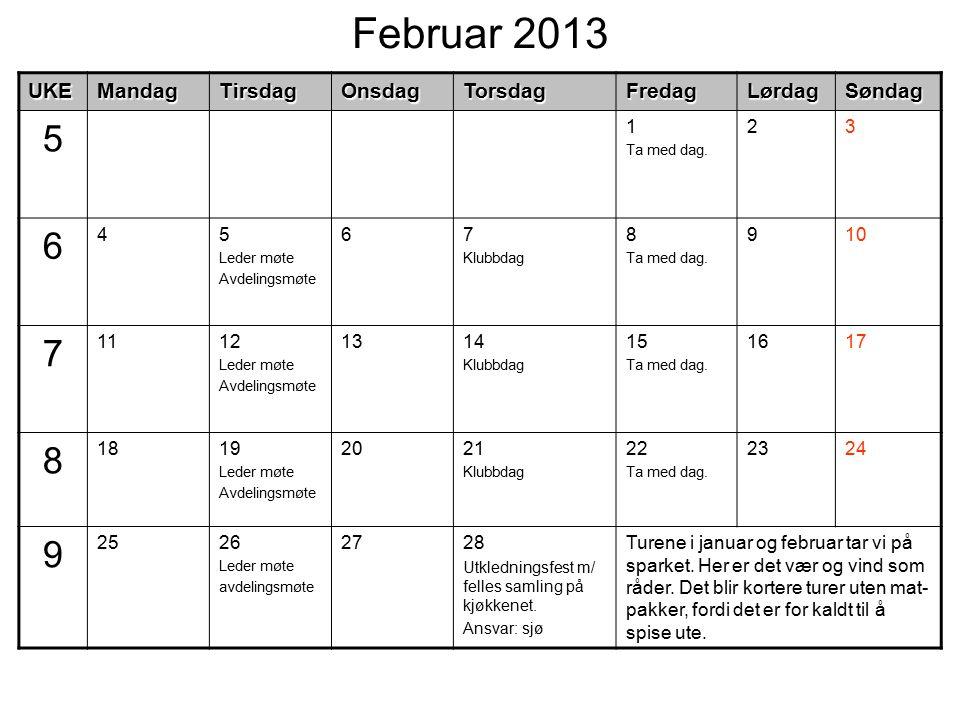 Februar 2013UKEMandagTirsdagOnsdagTorsdagFredagLørdagSøndag 5 1 Ta med dag. 23 6 45 Leder møte Avdelingsmøte 67 Klubbdag 8 Ta med dag. 910 7 1112 Lede