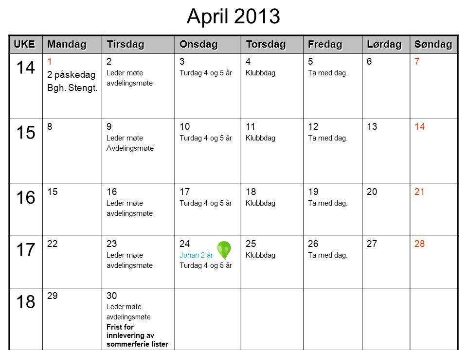 April 2013UKEMandagTirsdagOnsdagTorsdagFredagLørdagSøndag 14 1 2 påskedag Bgh. Stengt. 2 Leder møte avdelingsmøte 3 Turdag 4 og 5 år 4 Klubbdag 5 Ta m