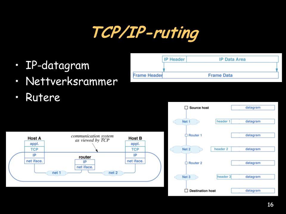16 TCP/IP-ruting IP-datagram Nettverksrammer Rutere