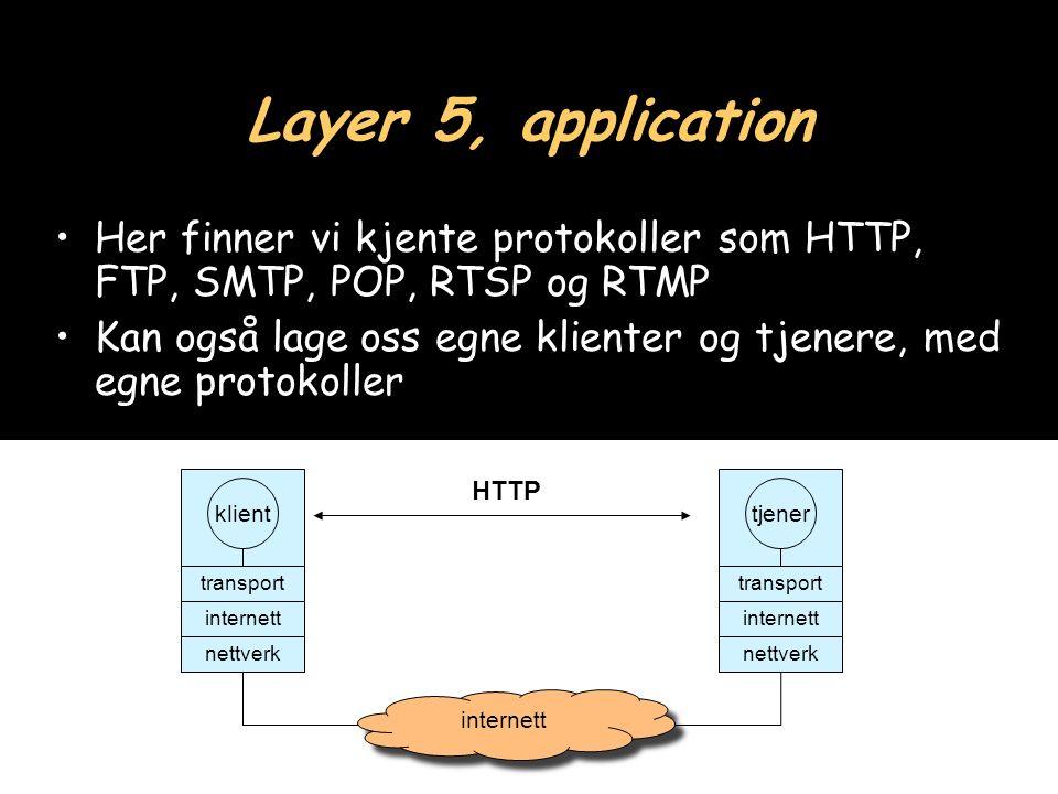 20 Layer 5, application Her finner vi kjente protokoller som HTTP, FTP, SMTP, POP, RTSP og RTMP Kan også lage oss egne klienter og tjenere, med egne protokoller klient transport internett nettverk tjener transport internett nettverk internett HTTP