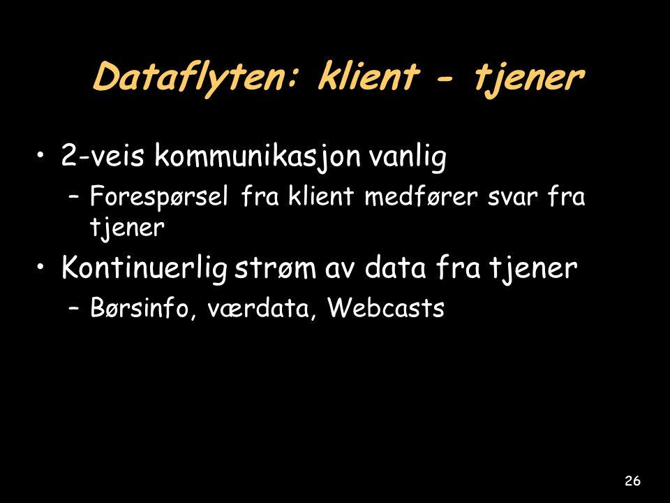 26 Dataflyten: klient - tjener 2-veis kommunikasjon vanlig –Forespørsel fra klient medfører svar fra tjener Kontinuerlig strøm av data fra tjener –Børsinfo, værdata, Webcasts