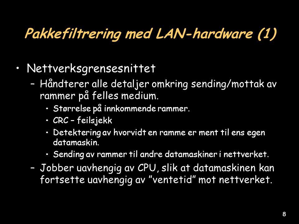 8 Pakkefiltrering med LAN-hardware (1) Nettverksgrensesnittet –Håndterer alle detaljer omkring sending/mottak av rammer på felles medium.