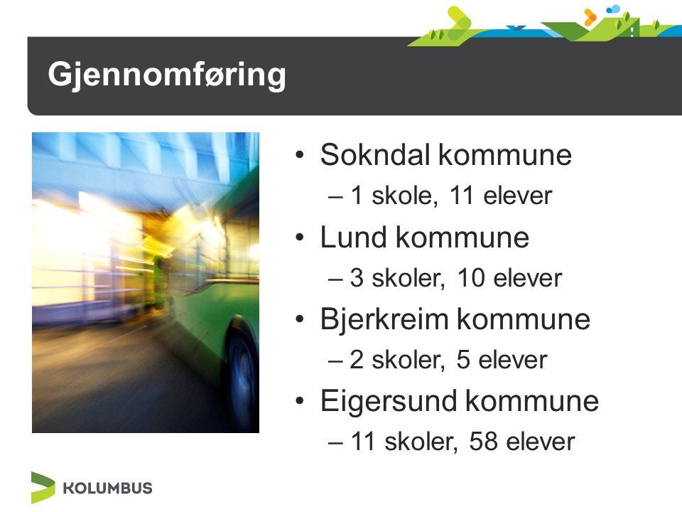 Gjennomføring Sokndal kommune –1 skole, 11 elever Lund kommune –3 skoler, 10 elever Bjerkreim kommune –2 skoler, 5 elever Eigersund kommune –11 skoler, 58 elever