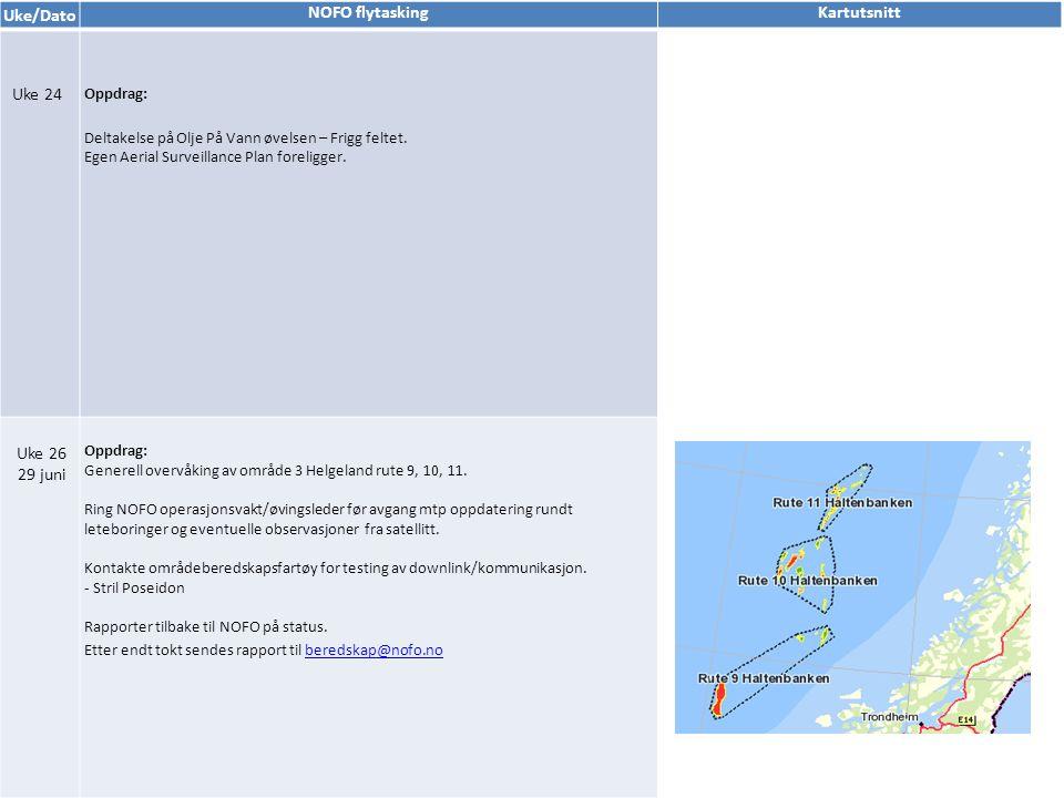 Uke/Dato NOFO flytaskingKartutsnitt Uke 24 Oppdrag: Deltakelse på Olje På Vann øvelsen – Frigg feltet.