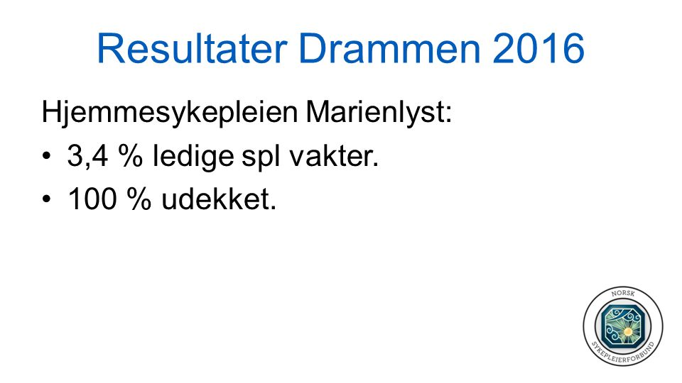 Resultater Hurum 2016 Demensomsorgen Sør: 63,3 % (50) ledige spl vakter.