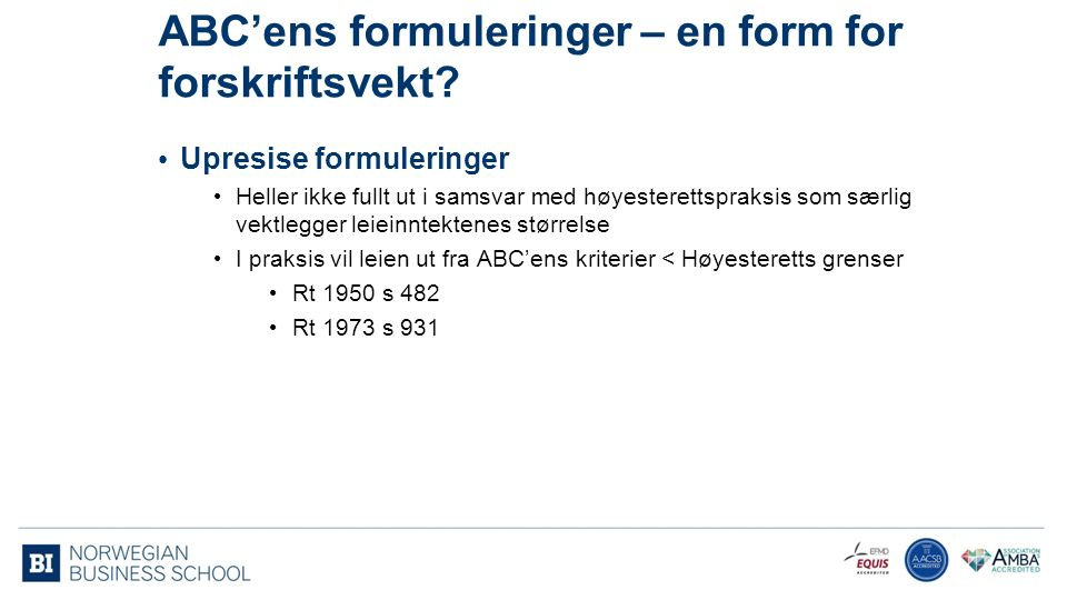 ABC'ens formuleringer – en form for forskriftsvekt.
