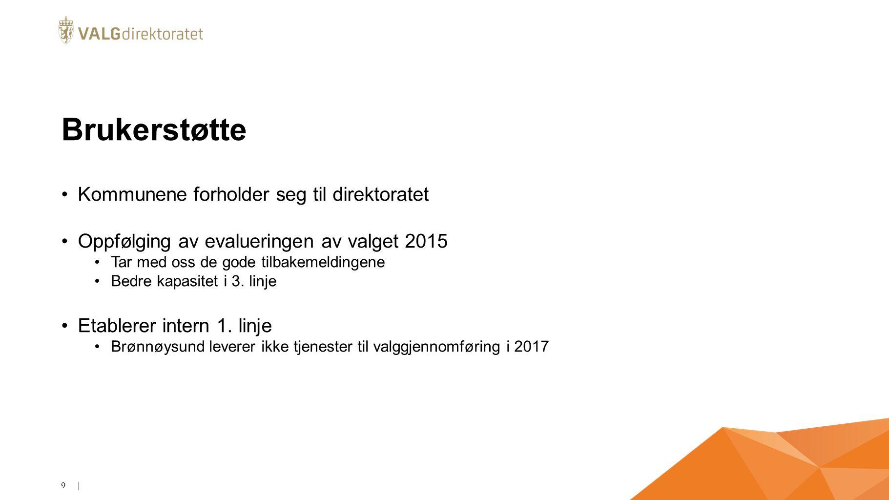 Brukerstøtte Kommunene forholder seg til direktoratet Oppfølging av evalueringen av valget 2015 Tar med oss de gode tilbakemeldingene Bedre kapasitet i 3.
