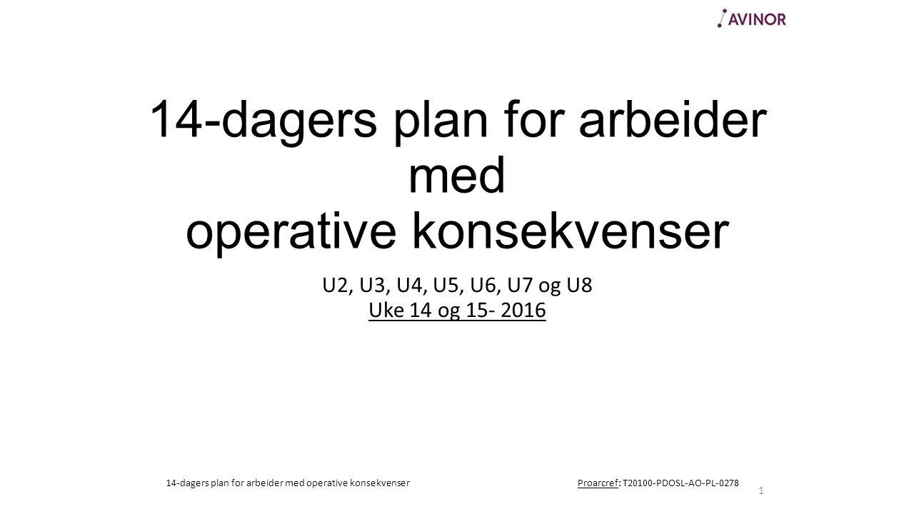 14-dagers plan for arbeider med operative konsekvenser U2, U3, U4, U5, U6, U7 og U8 Uke 14 og 15- 2016 1 14-dagers plan for arbeider med operative konsekvenserProarcref: T20100-PDOSL-AO-PL-0278