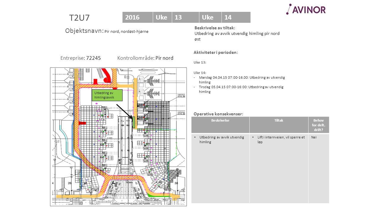 Bilde av område Aktiviteter i perioden: Uke 13: Uke 14: -Mandag 04.04.15 07:00-16.00: Utbedring av utvendig himling -Tirsdag 05.04.15 07:00-16:00: Utbedring av utvendig himling Operative konsekvenser: T2U7 2016Uke13Uke14 BeskrivelseTiltakBehov for delt.