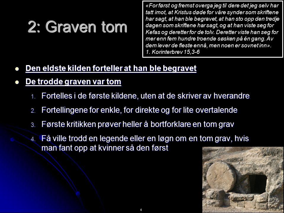 4 2: Graven tom Den eldste kilden forteller at han ble begravet Den eldste kilden forteller at han ble begravet De trodde graven var tom De trodde graven var tom 1.