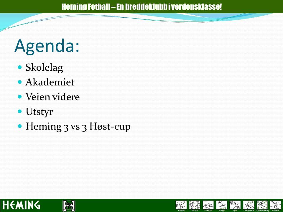 Agenda: Skolelag Akademiet Veien videre Utstyr Heming 3 vs 3 Høst-cup Heming Fotball – En breddeklubb i verdensklasse!
