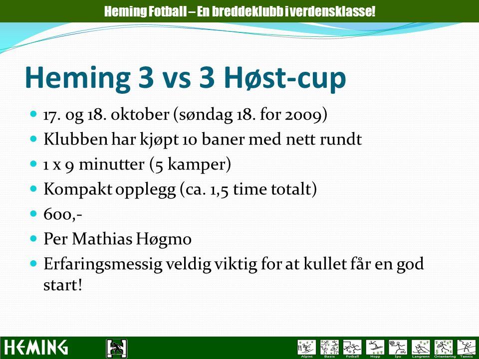 Heming 3 vs 3 Høst-cup 17. og 18. oktober (søndag 18. for 2009) Klubben har kjøpt 10 baner med nett rundt 1 x 9 minutter (5 kamper) Kompakt opplegg (c