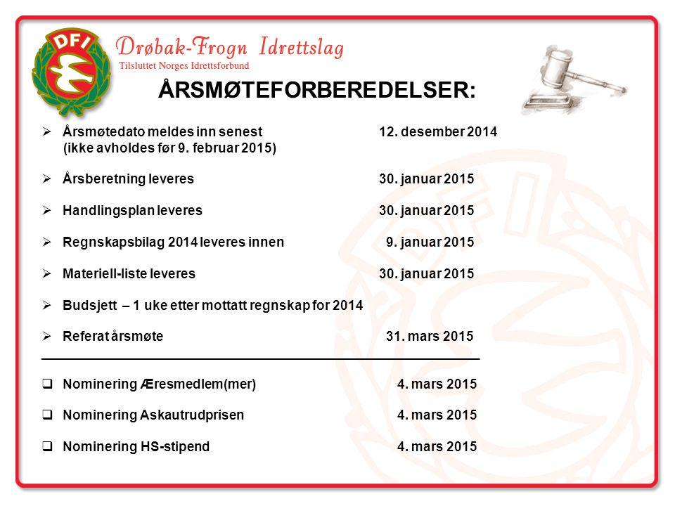  Årsmøtedato meldes inn senest12. desember 2014 (ikke avholdes før 9. februar 2015)  Årsberetning leveres 30. januar 2015  Handlingsplan leveres 30