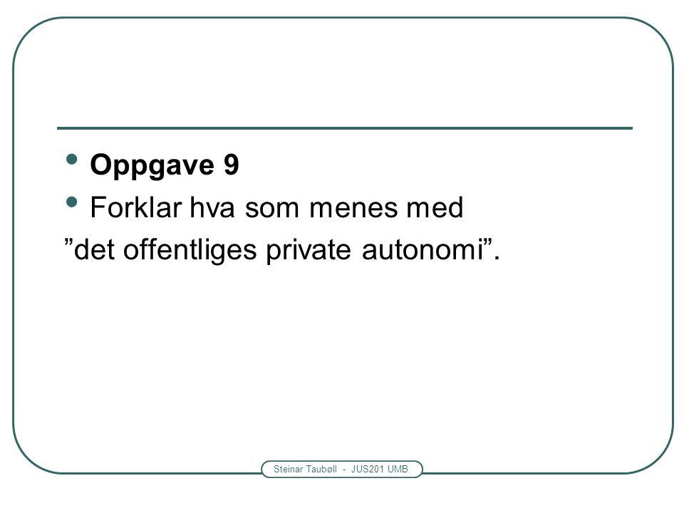 Steinar Taubøll - JUS201 UMB Oppgave 9 Forklar hva som menes med det offentliges private autonomi .