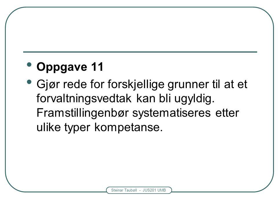 Steinar Taubøll - JUS201 UMB Oppgave 11 Gjør rede for forskjellige grunner til at et forvaltningsvedtak kan bli ugyldig.