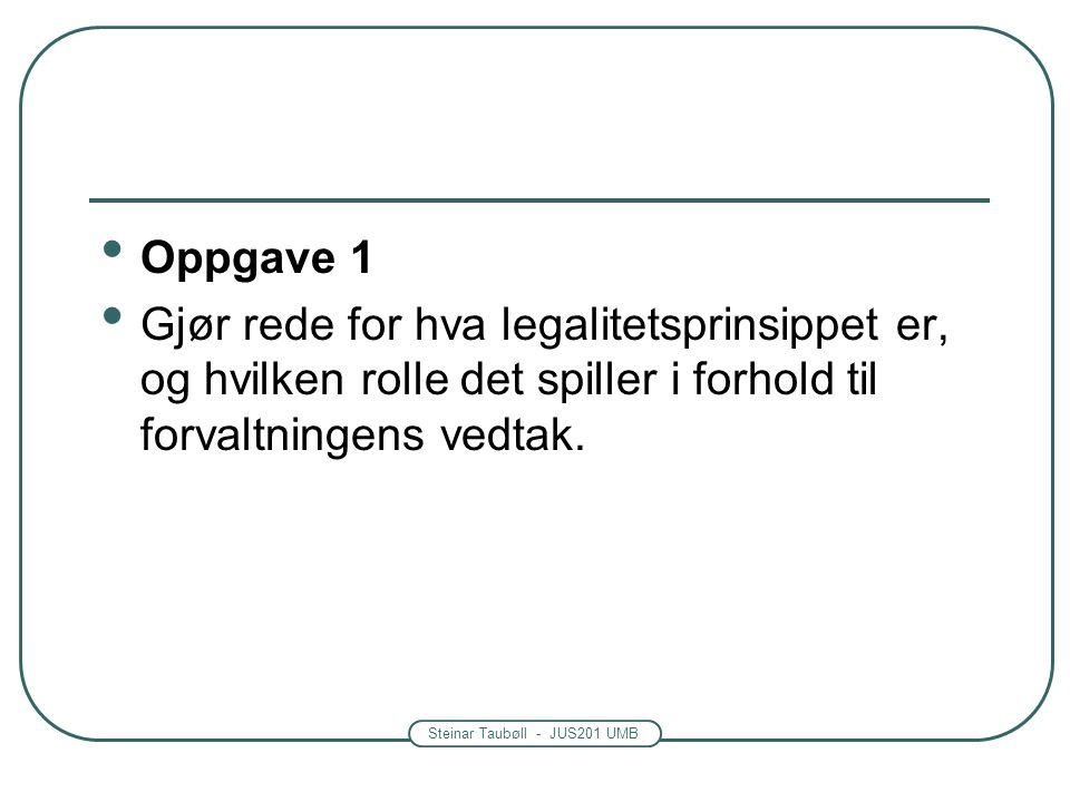 Steinar Taubøll - JUS201 UMB Legalitetsprinsippet Myndighetenes inngrep overfor den enkelte må ha grunnlag i lov.