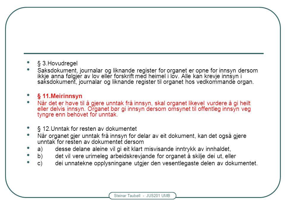 Steinar Taubøll - JUS201 UMB § 3.Hovudregel Saksdokument, journalar og liknande register for organet er opne for innsyn dersom ikkje anna følgjer av lov eller forskrift med heimel i lov.