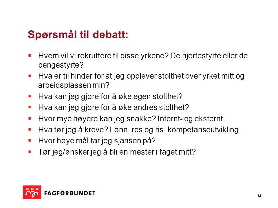 14 Spørsmål til debatt:  Hvem vil vi rekruttere til disse yrkene.