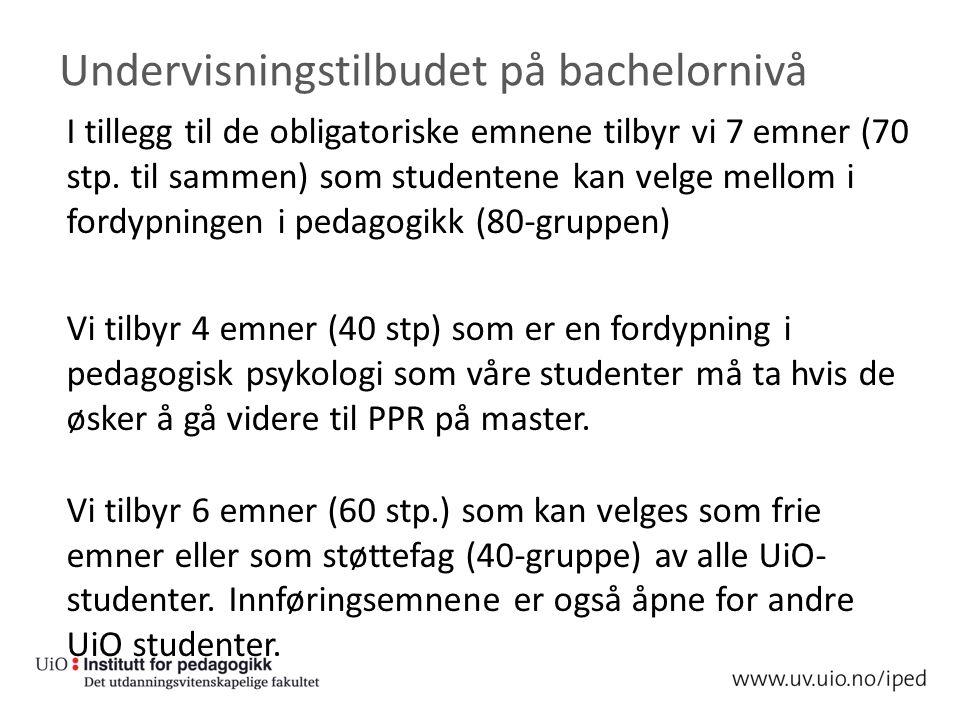 Undervisningstilbudet på bachelornivå I tillegg til de obligatoriske emnene tilbyr vi 7 emner (70 stp.
