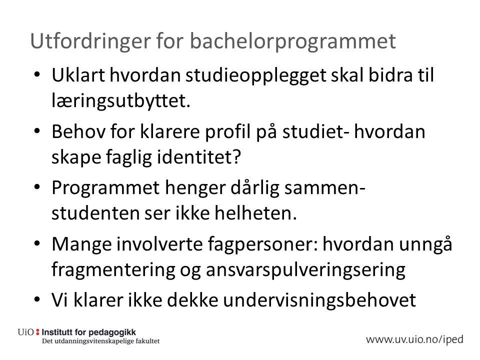 Utfordringer for bachelorprogrammet Uklart hvordan studieopplegget skal bidra til læringsutbyttet.