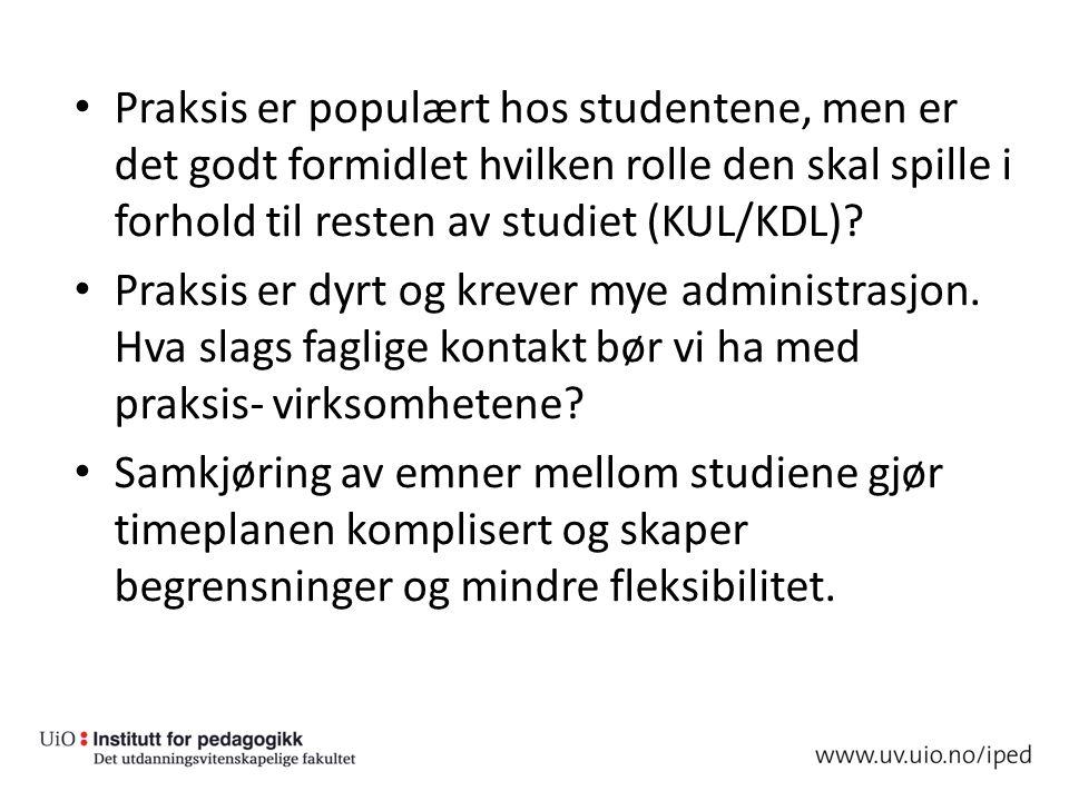 Praksis er populært hos studentene, men er det godt formidlet hvilken rolle den skal spille i forhold til resten av studiet (KUL/KDL).
