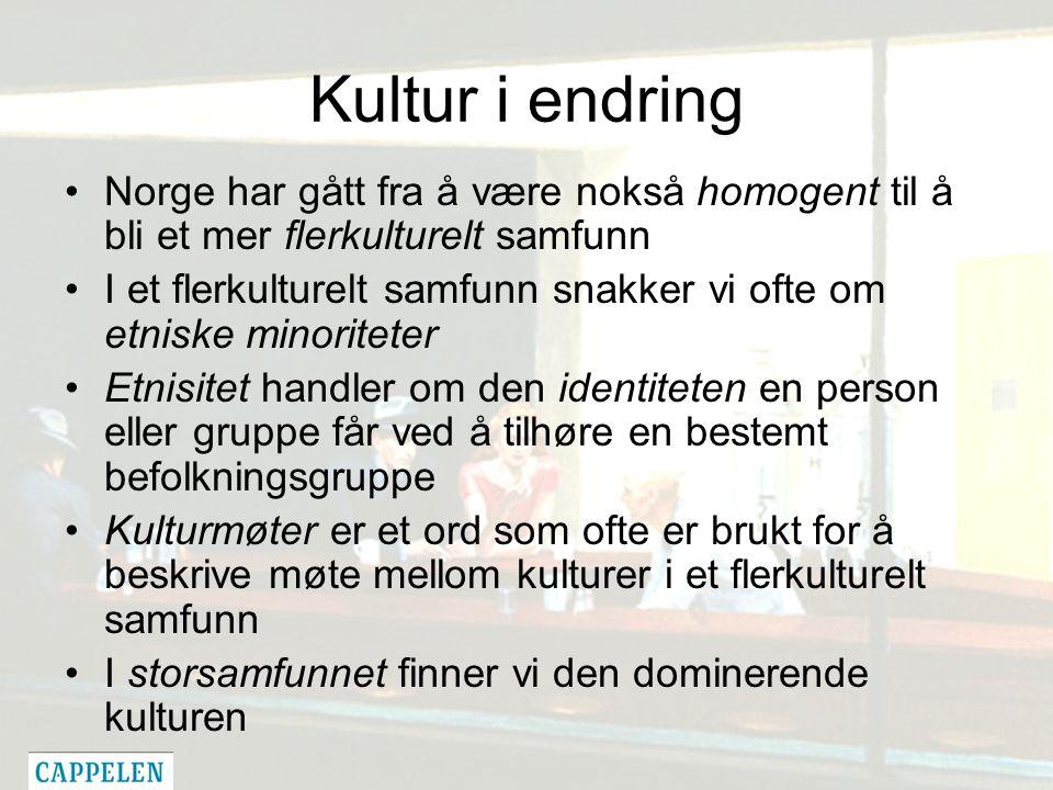 Kultur i endring Norge har gått fra å være nokså homogent til å bli et mer flerkulturelt samfunn I et flerkulturelt samfunn snakker vi ofte om etniske