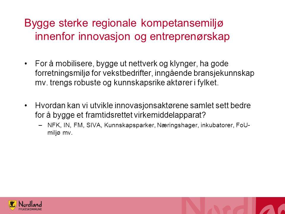 Bygge sterke regionale kompetansemiljø innenfor innovasjon og entreprenørskap For å mobilisere, bygge ut nettverk og klynger, ha gode forretningsmiljø for vekstbedrifter, inngående bransjekunnskap mv.