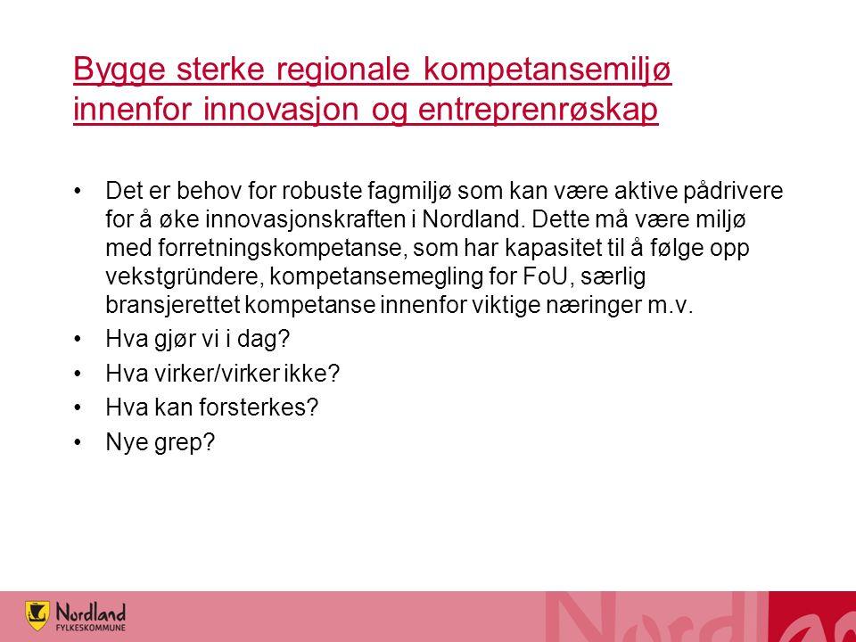 Bygge sterke regionale kompetansemiljø innenfor innovasjon og entreprenrøskap Det er behov for robuste fagmiljø som kan være aktive pådrivere for å øke innovasjonskraften i Nordland.